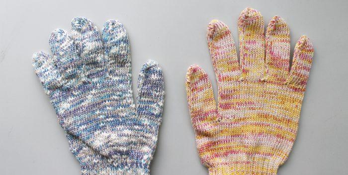 世界に一つ!?タオルの残り糸で織ったやさしい色合いのカラー軍手@大野金物店